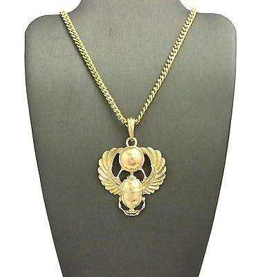 "Gold Egyptian Popular Amulet Scarab Pendant & 24"" Various Chain Hip Hop Necklace"
