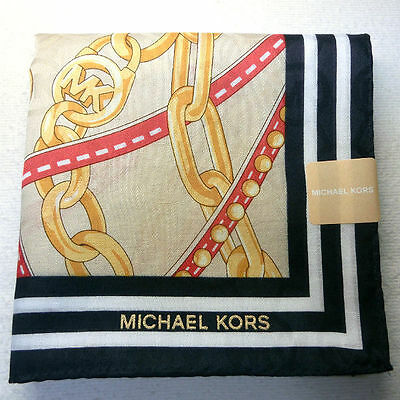 "MICHAEL KORS navy beige handkerchief 50x50cm(19.69"") cotton 100% made in Japan"
