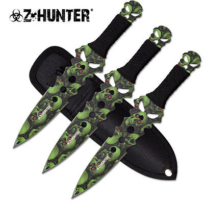 Green Skull Camo Zombie Eye Throwing Knives