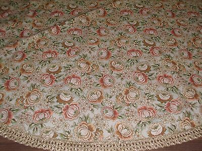 Vintage Table Cloth Brocade Tapestry Gold Trim Floral