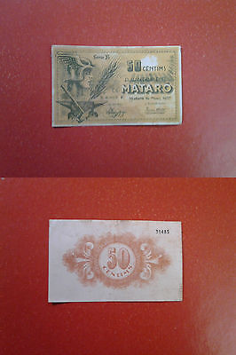 Billete Local Ajuntament De Mataro 50 Cts,1937
