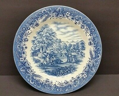 Currier And Ives Harvest Plate, Blue And White, Heritage Mint,ltd.