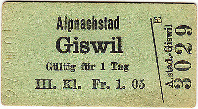 Switzerland - railway ticket: 3rd single Alpnachstad - Giswil 1895