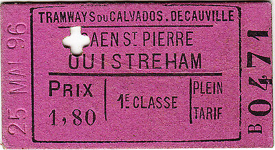 France: Tramways du Calvados de Cauville 1st railway ticket Caen St Pierre 1896