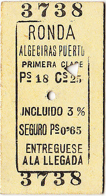 Spain - railway ticket: 1st Class single Ronda - Algericas Puerto 1906