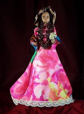 "MAKALEKA Hawaiian Handmade Tapa Mache Doll 8-1/4"" Tall - NEW with Tag"