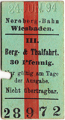 Germany- Neroberg-Bahn railway ticket: 3rd single Berg - Thalfahrt 1894