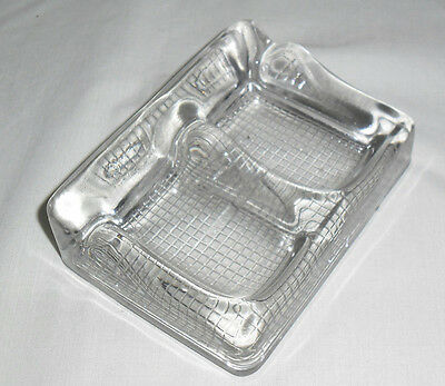 Vintage Heavy Glass Double Inkwell  &  Pen Rest : England