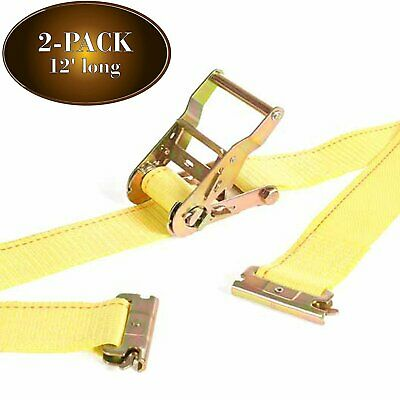 "Manufacturer Direct! 2 E Track Ratchet Straps 2"" x 12' Heavy Duty Truck TieDowns"
