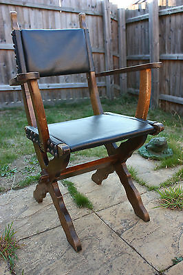 Vintage wood and leather chair