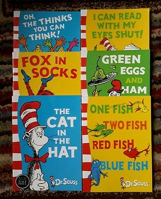 DR SEUSS BOOKS. 1 Blue & 5 Green back reading books for young children