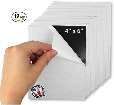 Flexible Adhesive Magnetic Sheets Paper 4-inch x 6-inch Peel and Stick Works ...
