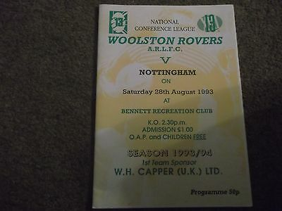 Woolston Rovers V Nottingham City National Conference League 28Th August 1993