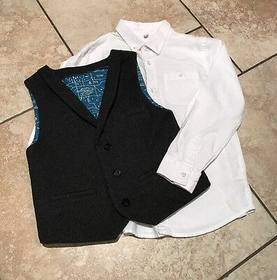 Boys Smart Grey Tweed Waistcoat With Smart White Shirt Age 6-7 Years From M&S