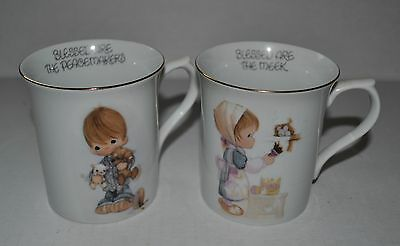 ENESCO Precious MOMENTS 2 Coffee/tea MUG BLESSED ARE MEEK PEACEMAKERS Jonathan