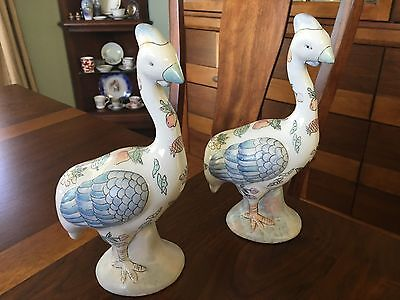 """Pair of Vintage Ceramic 9-1/2"""" tall Quail Birds from Wai Made in China"""