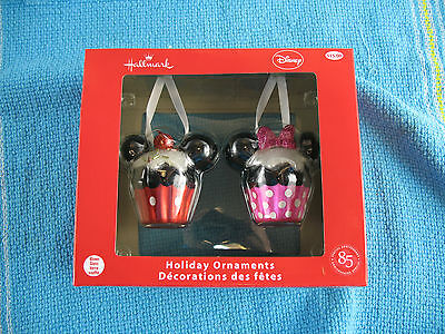 Mickey and Minnie Mouse Cupcake Decoration in box Hallmark hand blown glass