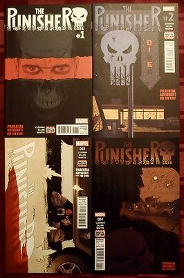 The Punisher Vol. 10 #1 2 3 4; 1St Printings! Lot Of 4 Books!!! (Marvel 2016)
