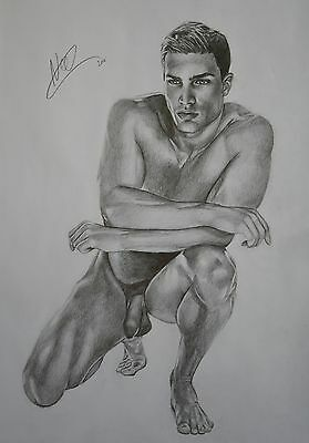 CLASSIC MALE NUDE 1.  Gay interest DRAWING.RCA artist. muscle A3 size. by Neil
