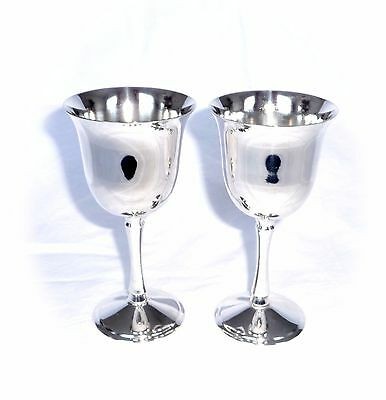 Superb VINTAGE 2 x LARGE SILVER PLATED CHAMPAGNE WINE GOBLETS CHALICES