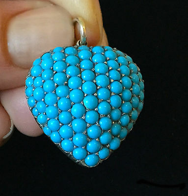 Antique, Victorian 15ct, 15k Gold Turquoise pave-set Heart Pendant with locket.