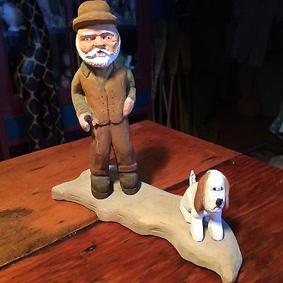Hand Crafted Wood Carving Old Man With Dog
