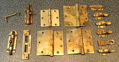 Vintage Lot Of 14 Brass Door Hinges And Locks Stanley, And Hardware Made In USA.