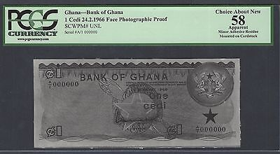 Ghana One Cedi 24-2-1966  Pick Unlisted Face Photographic Proof