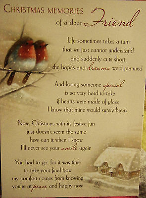 Christmas memorial funeral grave card Special Friend Robins
