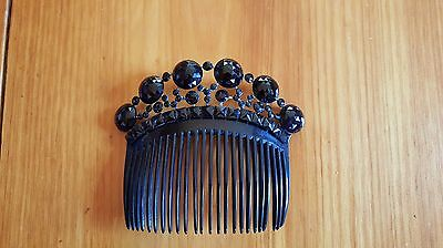 Victorian Black Celluloid & French Jet Hair/mourning Comb