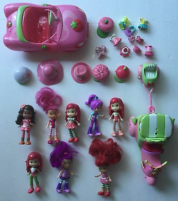 Strawberry Shortcake Berry Cafe Dollhouse 8 Dolls Car and Scooter Lot