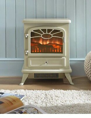 ES2000 Cream LED Electric Fire Stove Heater