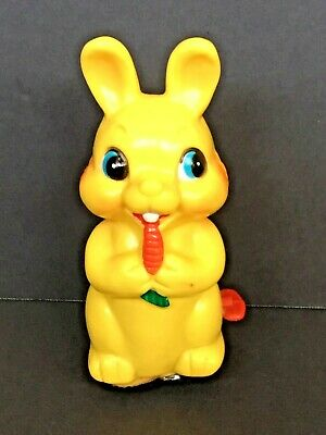 Vtg Rare Made In Japan Hard Plastic/tin Yellow Bunny Rabbit Wind Up Toy - Works!