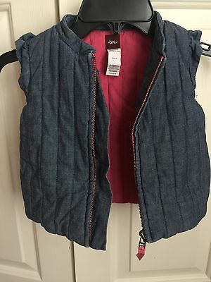 Tea Collection Chambray Quilted Puffy vest-EUC