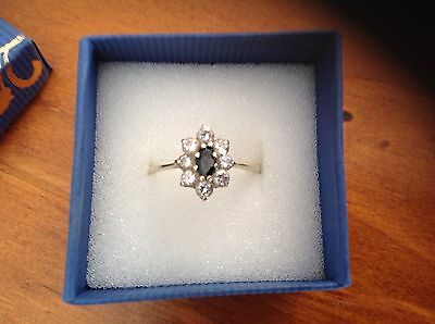 14ct Yellow Gold Ring Black Sapphire Size O