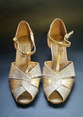 Very Fine Gold Sparkling Dancing Shoes Ankle Straps Peep Toe Size 8