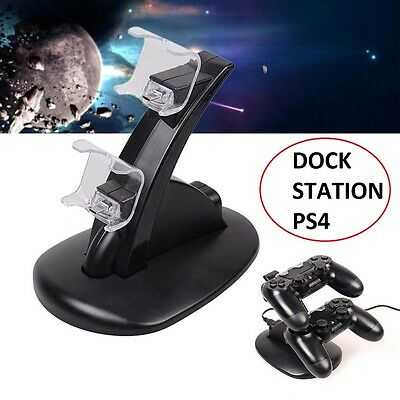 Dock Station ricarica USB Supporto PlayStation PS4 Dual Joystick LED Caricatore