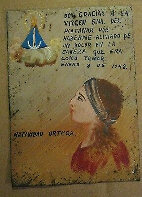 Antique Original Exvoto On Tin Woman Thanking Our Lady Del Platanar For Healing