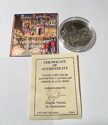 3rd Crusade Richard The Lionheart Sterling Silver Coin 2010 Cook Islands