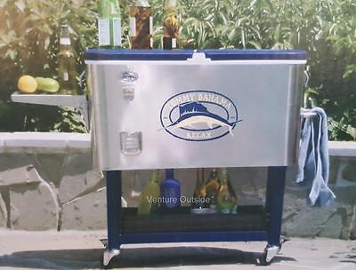 Rolling Party Cooler Stainless Steel 94 litre Tommy Bahama