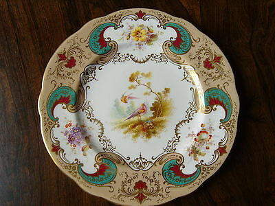 Antique Coalport Handpainted Birds & Flowers Cabinet Plate Signed By Fred Howard