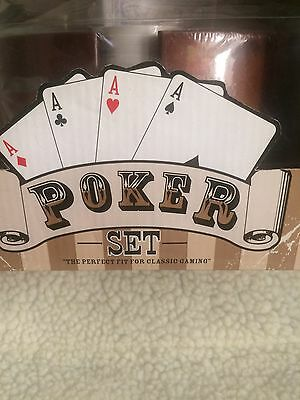 Poker Set Cards And Chips In A Revolving Chip Holder