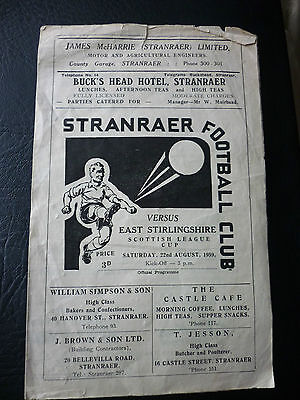Stranraer V East Stirlingshire League Cup 22/8/1959