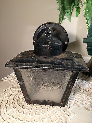 "Vintage Porch Light Fixture Frosted Glass Panels Antique Style 7"" Tall ~ Black"