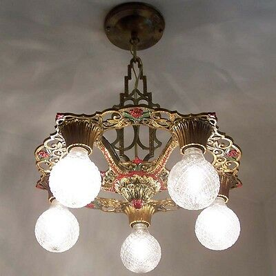 889 Vintage 20s 30s Ceiling Light  aRT Nouveau Polychrome Chandelier Virden