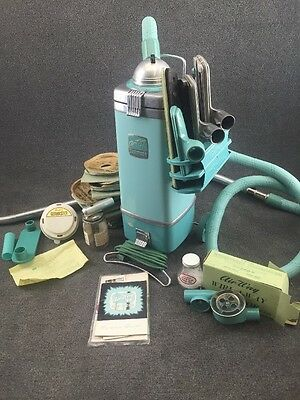Mid Century Air-Way 88 Sanitizor Tank Vacuum Cleaner in Teal w/ Attachments