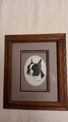 """Earl Sherwan"" Framed Boston Terrier, Marvetti Cultured White Oval"