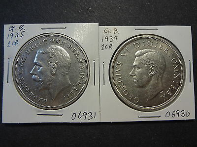 Great Britain 1935 + 1937 Silver Crown ,  Both Choice Unc !