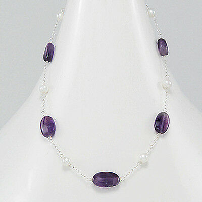 Genuine 925 Sterling Silver Amethyst & Freshwater Pearl Necklace Gemstone