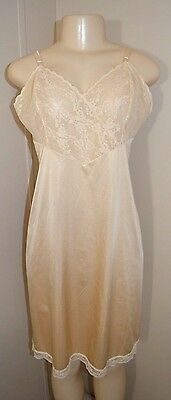 Vintage Vanity Fair Silky Lacey Nylon Long Full Slip-Size 36-Bust To 38""